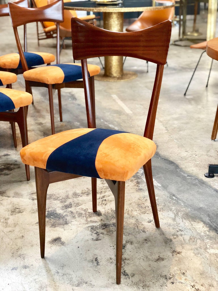 Mid-Century Modern 1950s Italian Ico Parisi Dining Chairs, Set of Six For Sale