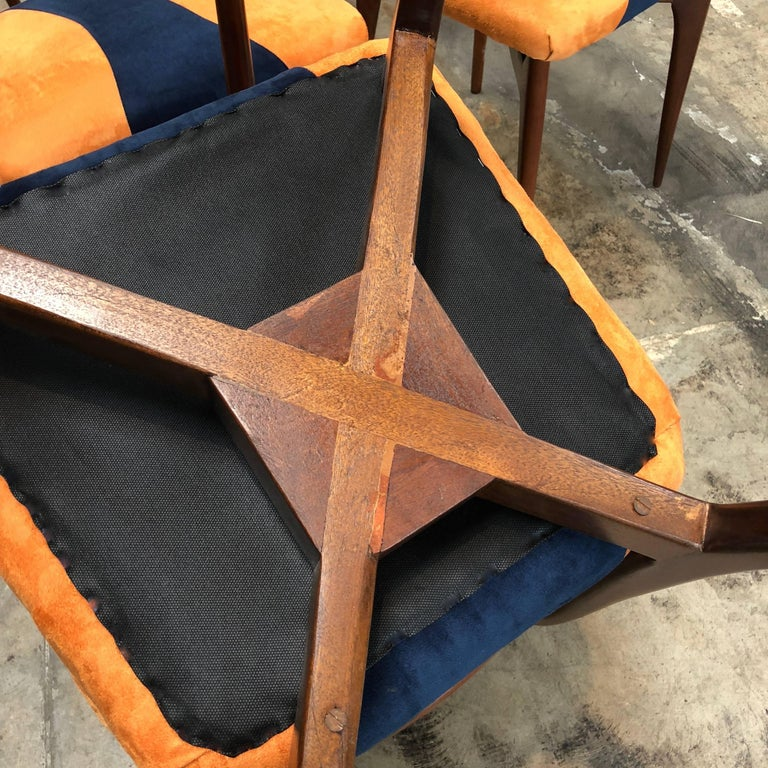 1950s Italian Ico Parisi Dining Chairs, Set of Six For Sale 2