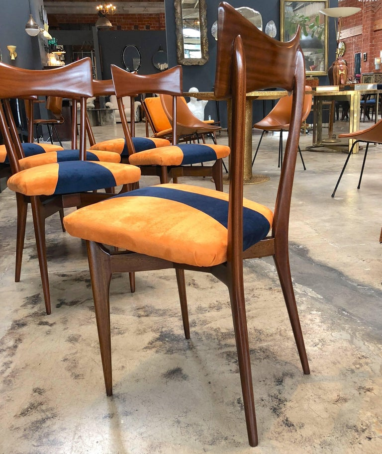 1950s Italian Ico Parisi Dining Chairs, Set of Six In Excellent Condition For Sale In Los Angeles, CA
