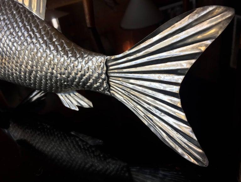Sheet Metal 1960s Italian Metal Fish Sculpture For Sale