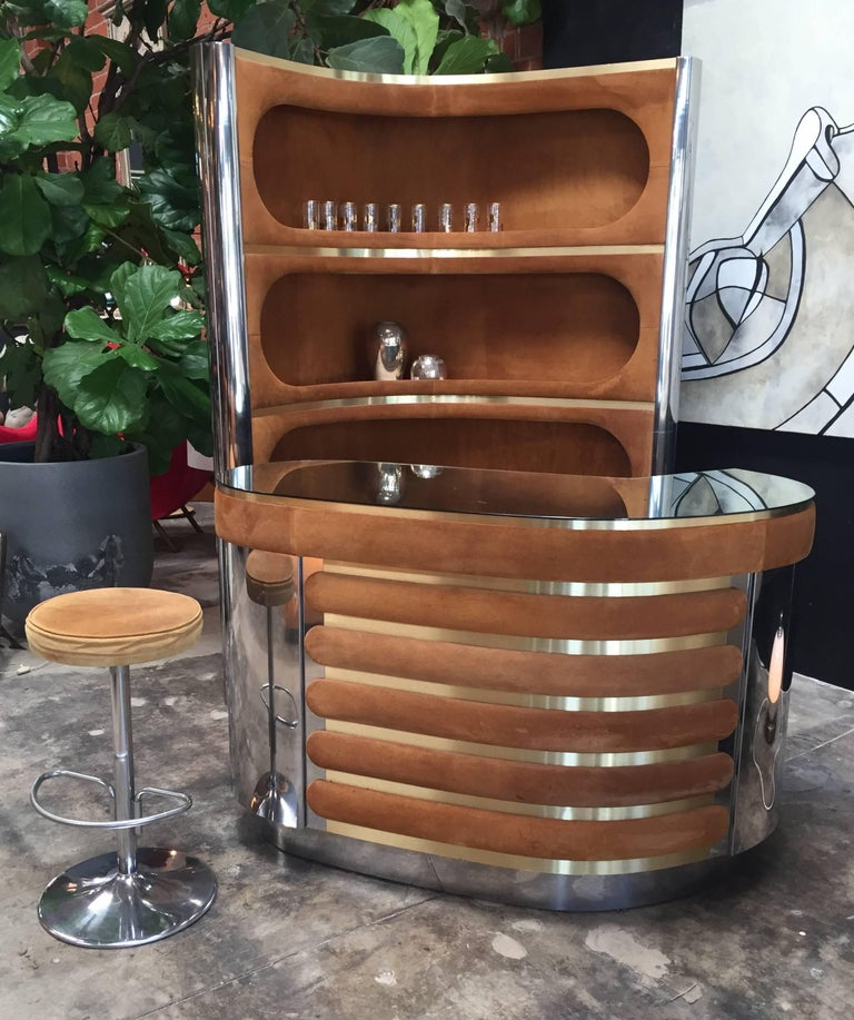 Mid-Century Modern Rare Dry Bar and Storage of Willy Rizzo, Italy, 1970s For Sale