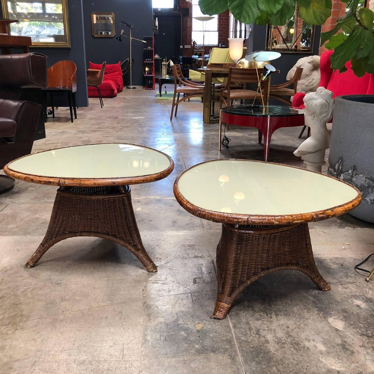 Placed side by side they would even make an interesting coffee table. The rattan bases makes these interesting tables light weight and easily moved from place to place. Their natural fibres pair nicely with Mid-Century Modern décor but look equally