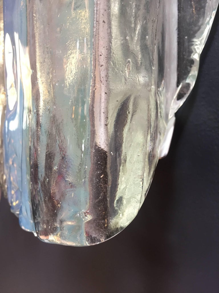 Mid-20th Century Pair of Iridescent and Clear Panelled Murano Sconces by Mazzega, Italy, 1960s For Sale
