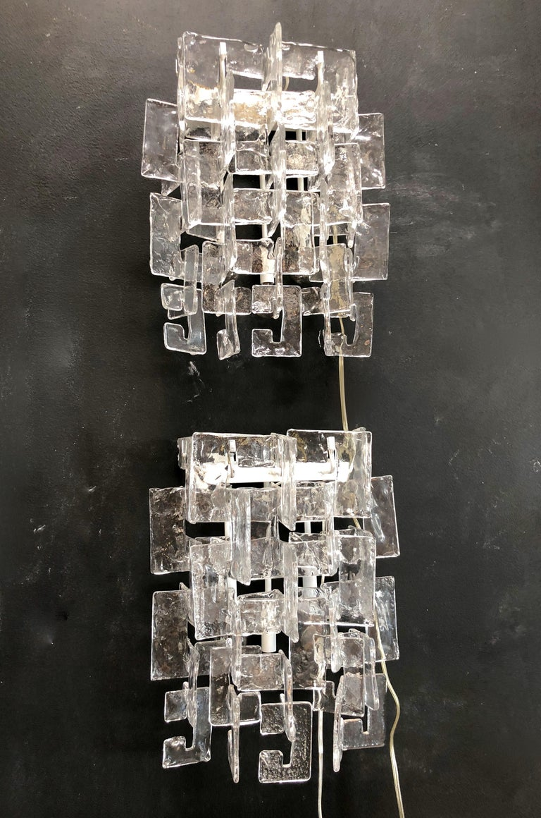 Mid-Century Modern Pair of Sconces by Carlo Nason for Mazzega Murano, Italy, 1970s For Sale
