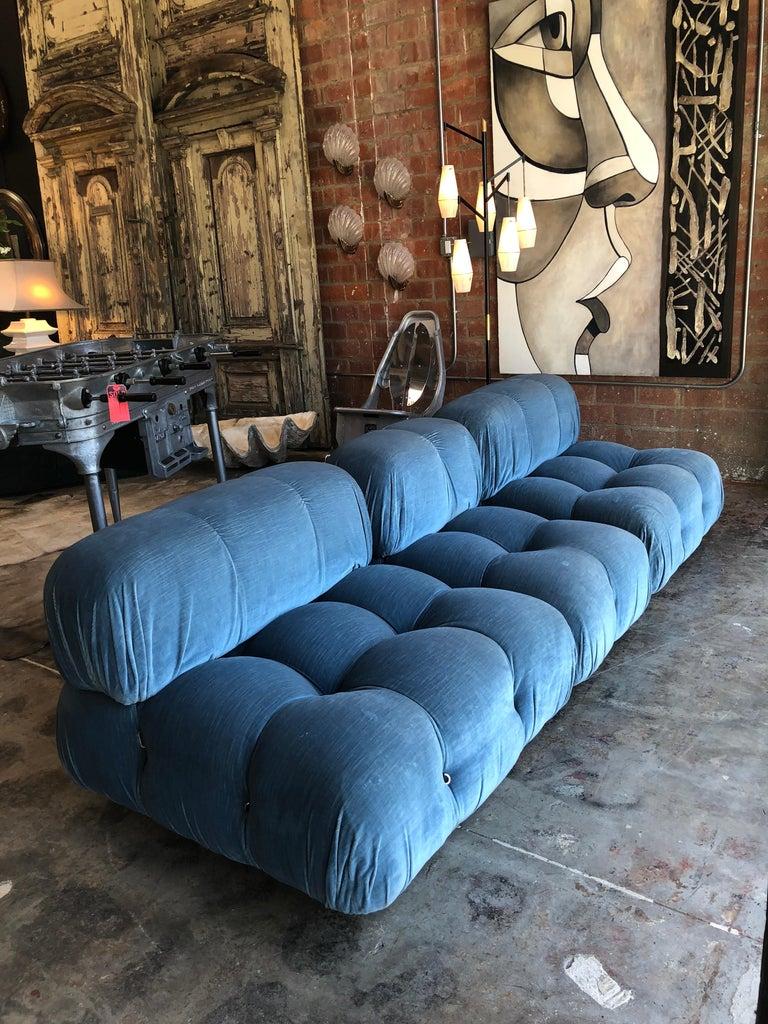 Mid-Century Modern Mario Bellini Light Blue Original Fabric 'Camaleonda' Modular Sofa For Sale