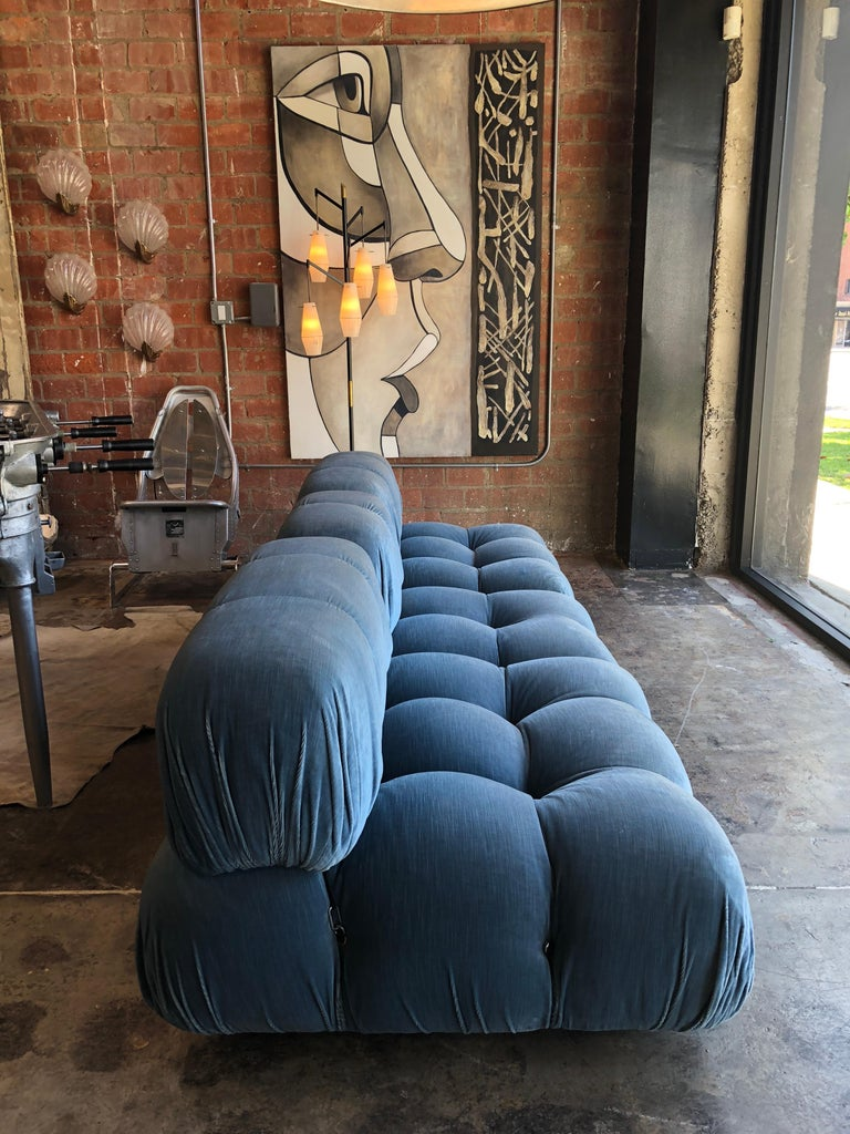 Italian Mario Bellini Light Blue Original Fabric 'Camaleonda' Modular Sofa For Sale