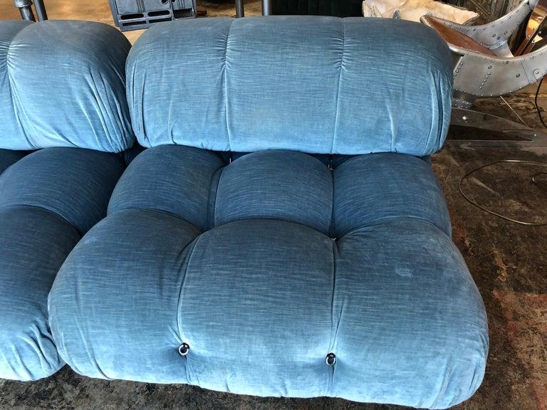 Velvet Mario Bellini Light Blue Original Fabric 'Camaleonda' Modular Sofa For Sale