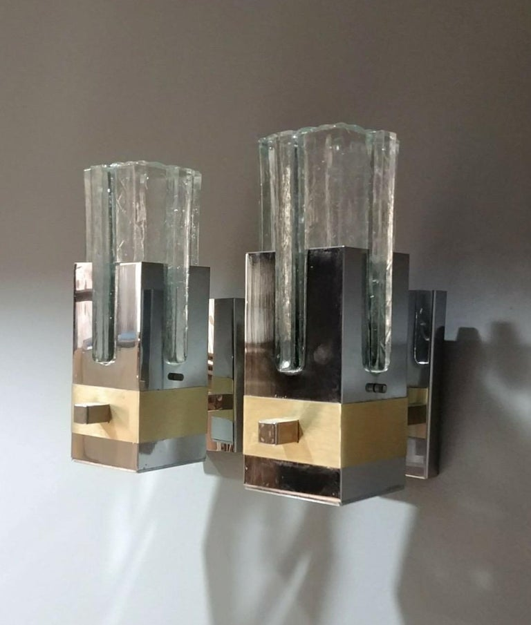 Mid-Century Modern Gaetano Sciolari Pair of Chrome and Brass Sconces, Italy, 1970s, Ipso Facto For Sale