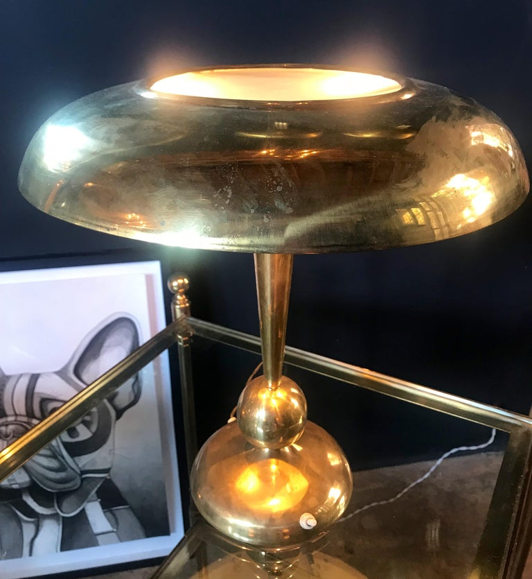Mid-Century Modern Oscar Torlasco Solid Brass Table Lamp, Italy, 1950s For Sale