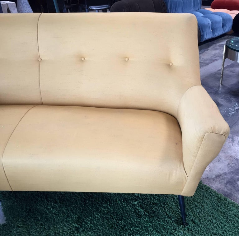 Midcentury Italian Large Curved Sofa, 1950s For Sale 1