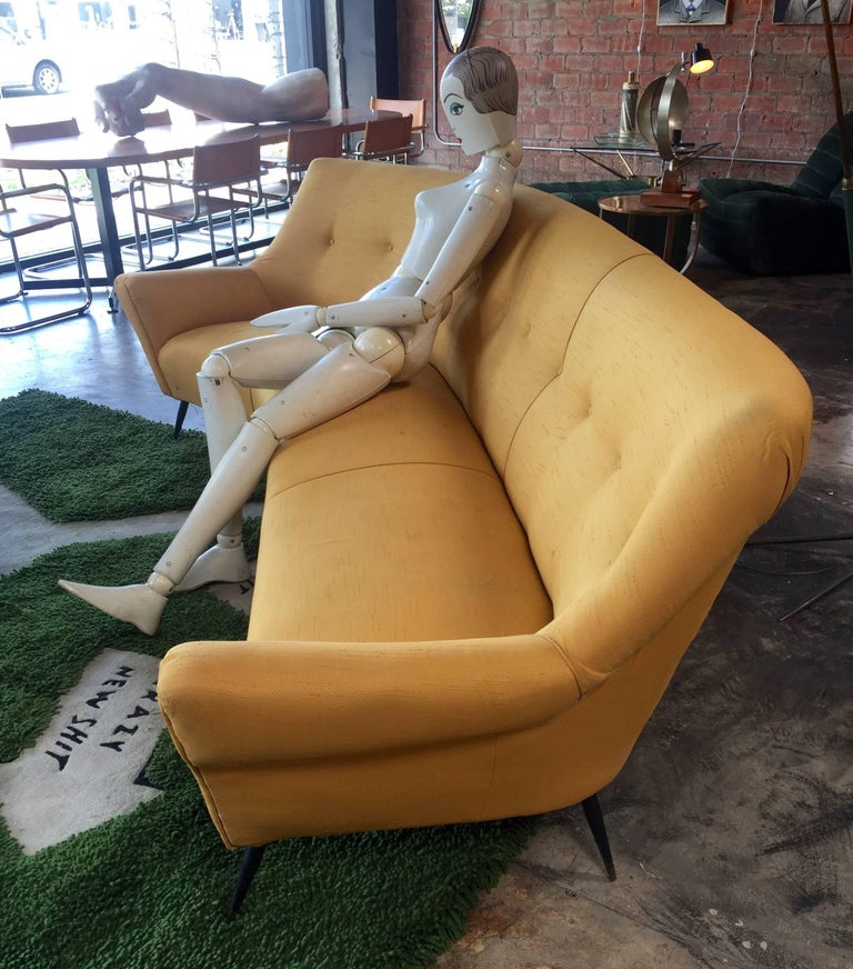 Midcentury Italian Large Curved Sofa, 1950s In Good Condition For Sale In Los Angeles, CA