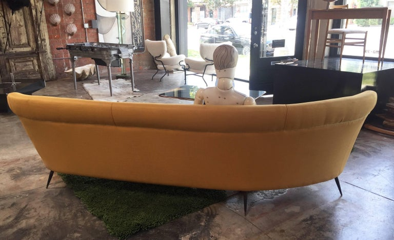 Mid-20th Century Midcentury Italian Large Curved Sofa, 1950s For Sale
