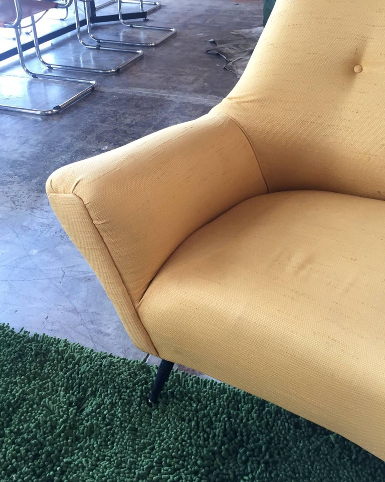 Fabric Midcentury Italian Large Curved Sofa, 1950s For Sale