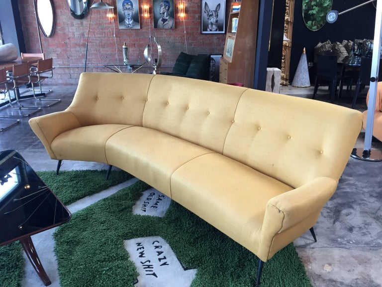 Mid-Century Modern Midcentury Italian Large Curved Sofa, 1950s For Sale
