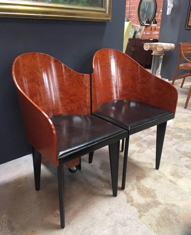 Italian Vintage Pair of Saporiti Club Chairs, 1980s For Sale 9