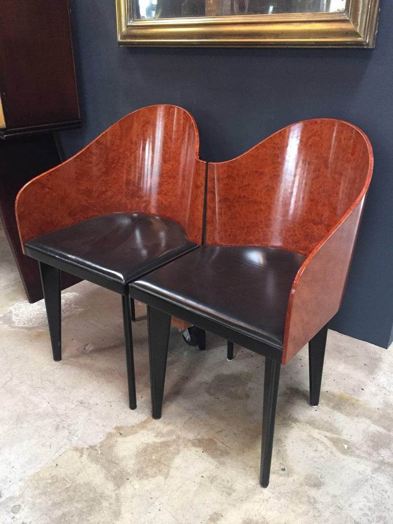 Italian Vintage Pair of Saporiti Club Chairs, 1980s For Sale 8