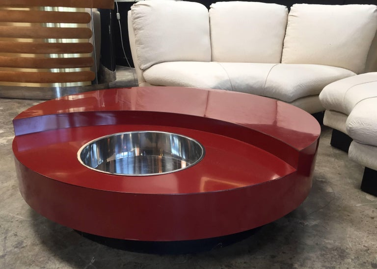 Iconic Round Red Coffee Table by Willy Rizzo, Italy, 1970s For Sale 1