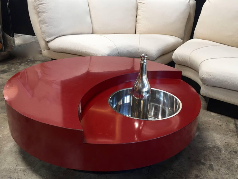 Iconic Round Red Coffee Table by Willy Rizzo, Italy, 1970s For Sale 2