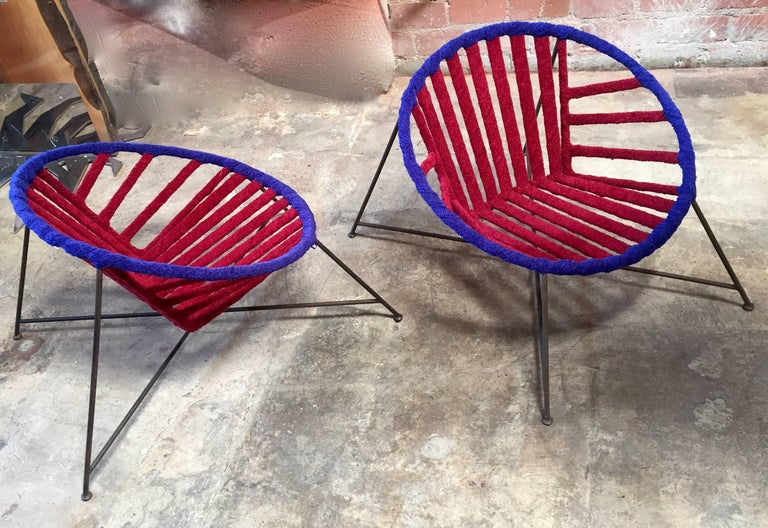 Unique set of two 1960s iron and fabric club chairs by Maurizio Tempestini, Italy.