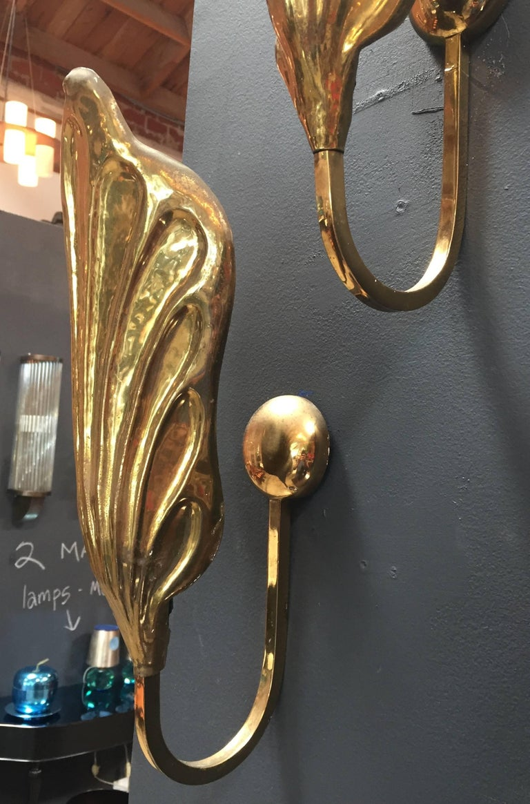 Gilt Pair of Italian 20th Century Sconces in Brass by Tommaso Barbi For Sale