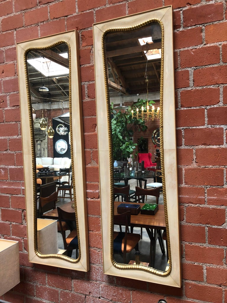 Mid-Century Modern Pair of Large Italian Wall Mirrors, 1950s For Sale