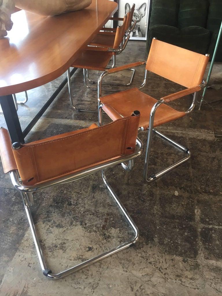 Mid-Century Modern Mart Stam Ten Italian Leather Armchairs, 1950s For Sale