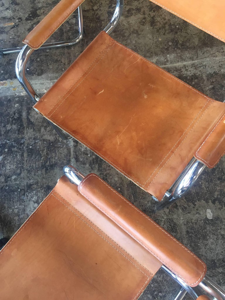 Mart Stam Ten Italian Leather Armchairs, 1950s In Good Condition For Sale In Los Angeles, CA