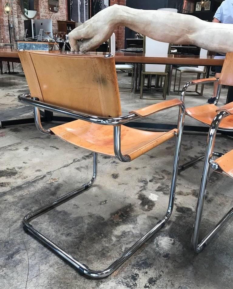 Steel Mart Stam Ten Italian Leather Armchairs, 1950s For Sale