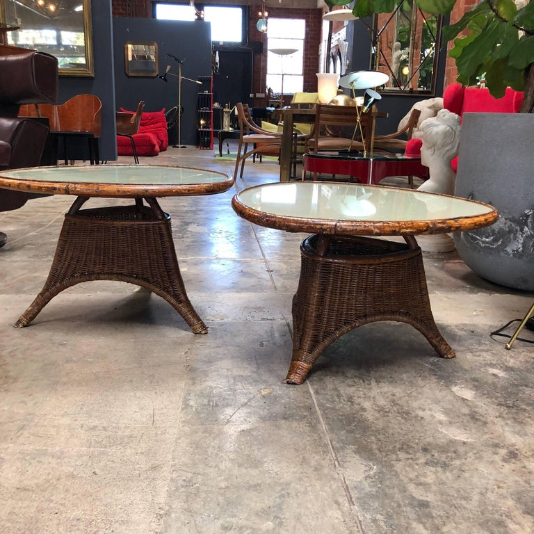 Mid-Century Modern Pair of Italian Coffee Tables in Rattan and Glass, 1960s For Sale