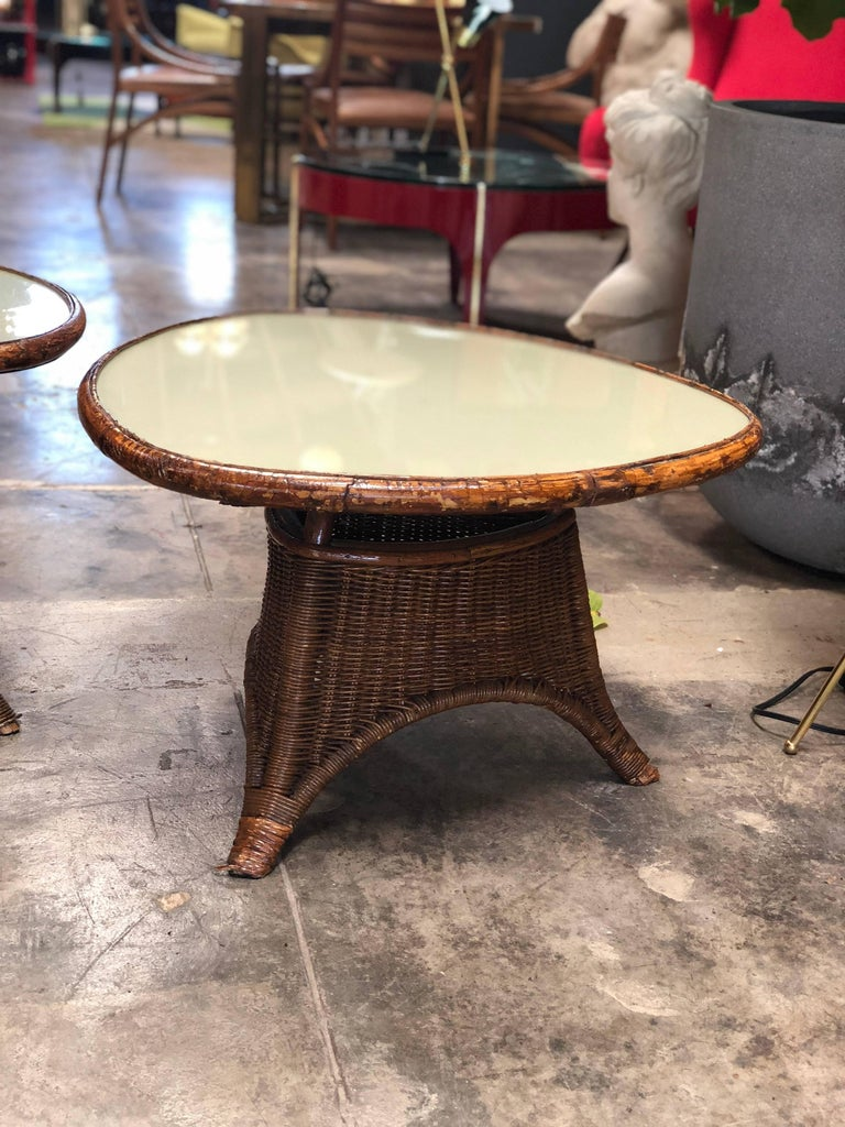 Pair of Italian Coffee Tables in Rattan and Glass, 1960s For Sale 5