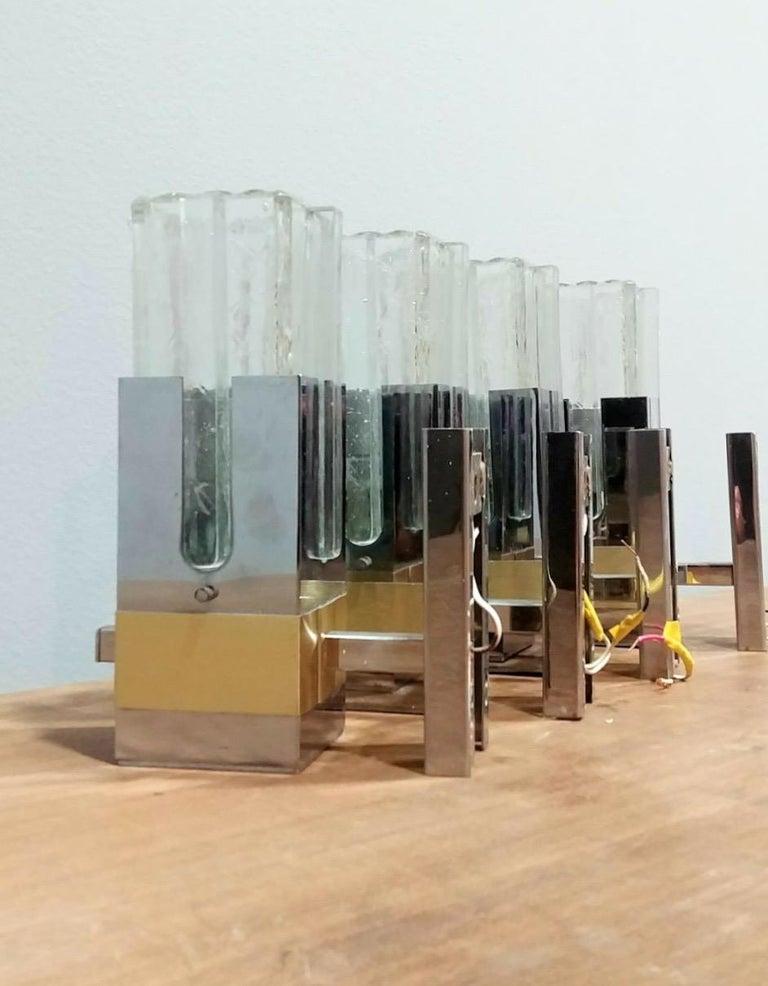 Gaetano Sciolari Pair of Chrome and Brass Sconces, Italy, 1970s, Ipso Facto For Sale 3