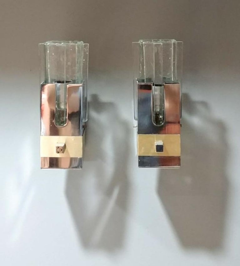 Gaetano Sciolari pair of chrome and brass sconces, Italy, 1970s, Ipso Facto