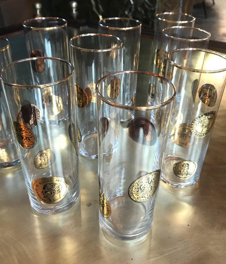Set of Nine Piero Fornasetti High Glasses, Italy, 1970s For Sale 4