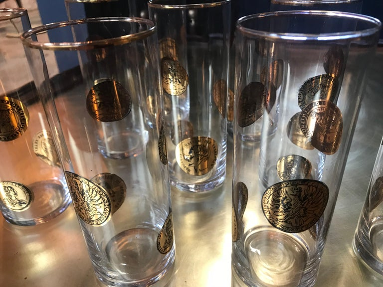 Set of Nine Piero Fornasetti High Glasses, Italy, 1970s For Sale 5