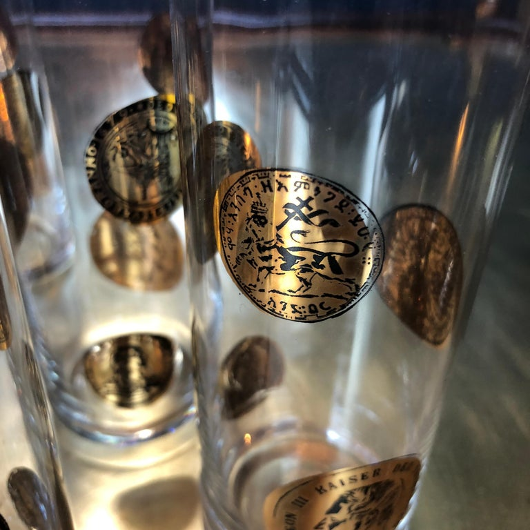 Set of Nine Piero Fornasetti High Glasses, Italy, 1970s In Excellent Condition For Sale In Los Angeles, CA