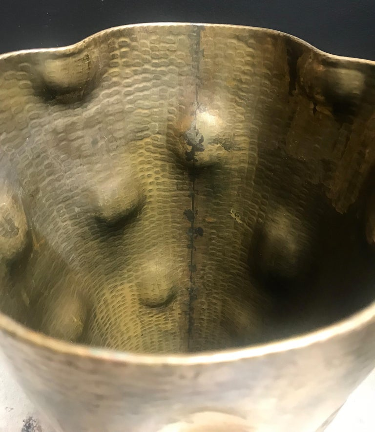 Rare Art Deco Hammered Brass Umbrella Stand, 1930s For Sale 1