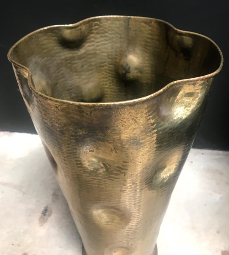 Mid-20th Century Rare Art Deco Hammered Brass Umbrella Stand, 1930s For Sale
