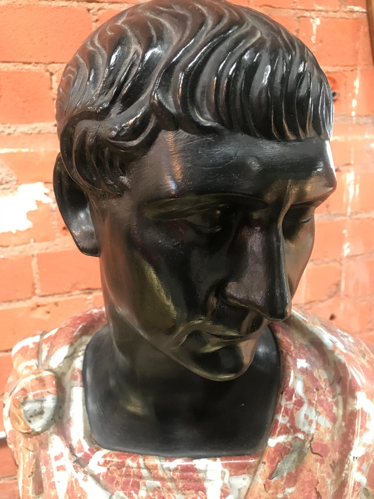 Neoclassical Late 1800s Glazed Terracotta and Marble Bust of a Youthful Augustus, Italy For Sale