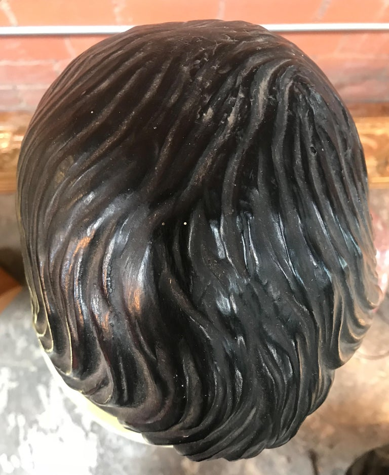 Late 1800s Glazed Terracotta and Marble Bust of a Youthful Augustus, Italy In Excellent Condition For Sale In Los Angeles, CA