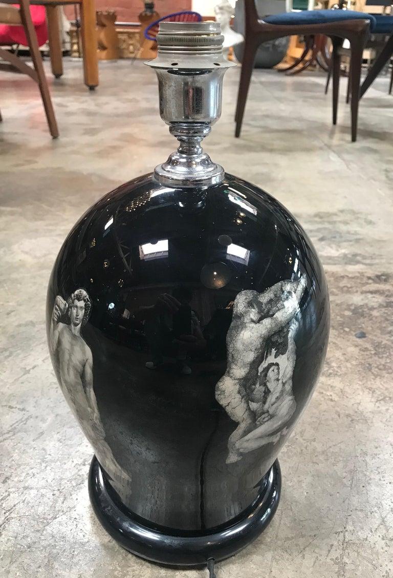 Mid-Century Modern Vintage Fornasetti Style Table Lamp