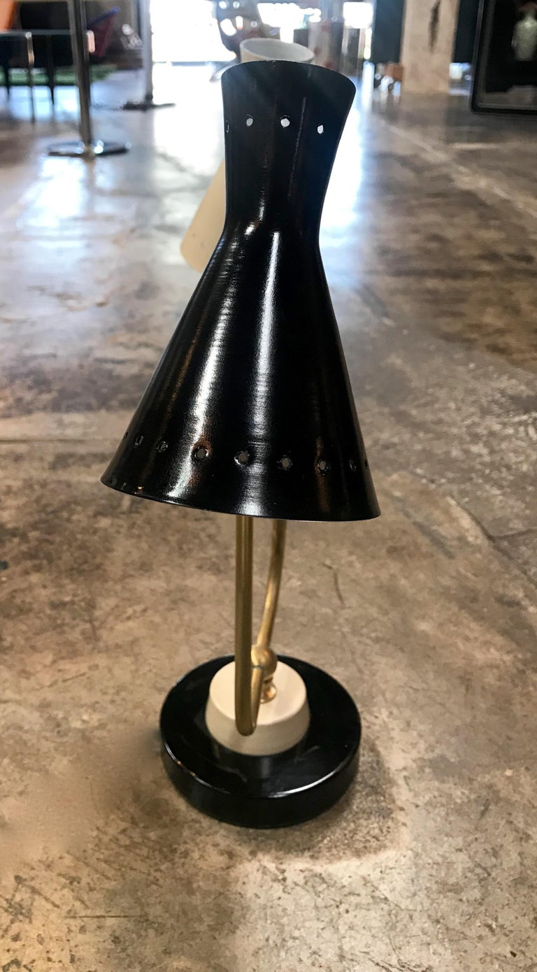 Midcentury Double Arms in Brass Table Lamp, Italy, 1950s For Sale 2