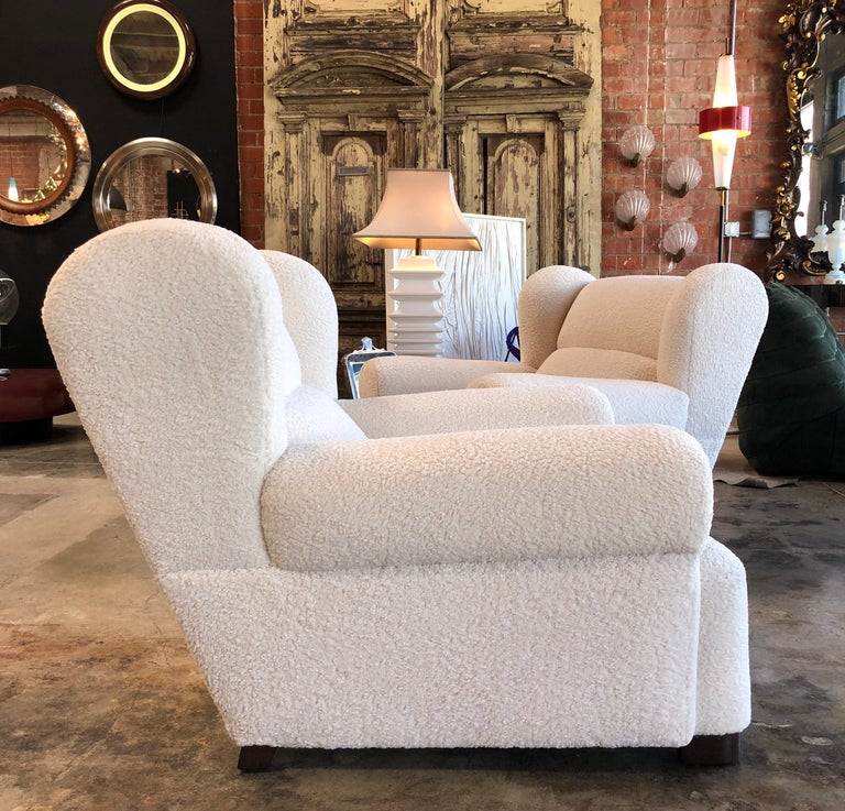 Fabric Edoardo Gellner Armchairs, Italy 1947 from Villa Menardi, Cortina d'Ampezzo  For Sale