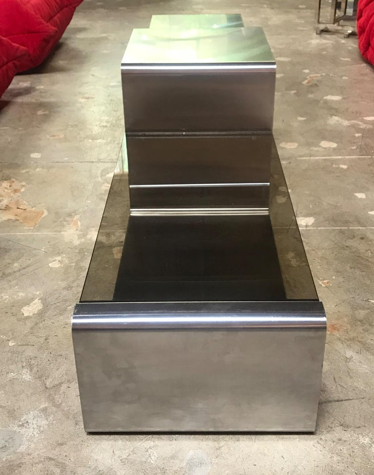 Italian Sculptural Coffee Table Made of Three Modular Glass and Chrome Pieces, 1970s For Sale