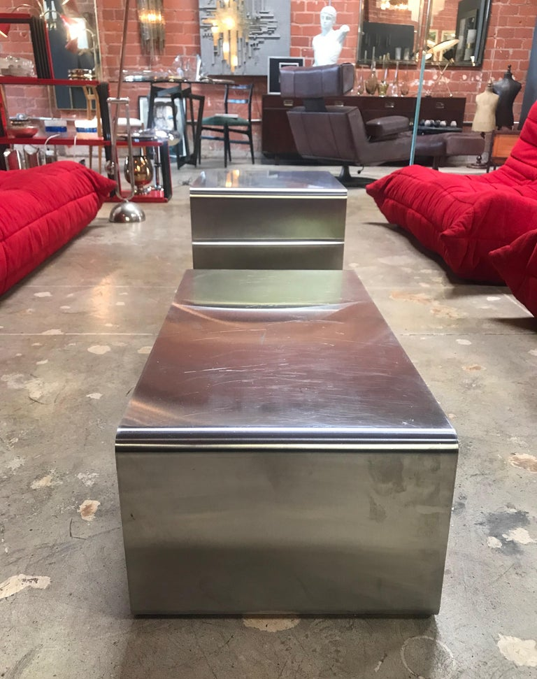 Sculptural Coffee Table Made of Three Modular Glass and Chrome Pieces, 1970s In Good Condition For Sale In Los Angeles, CA