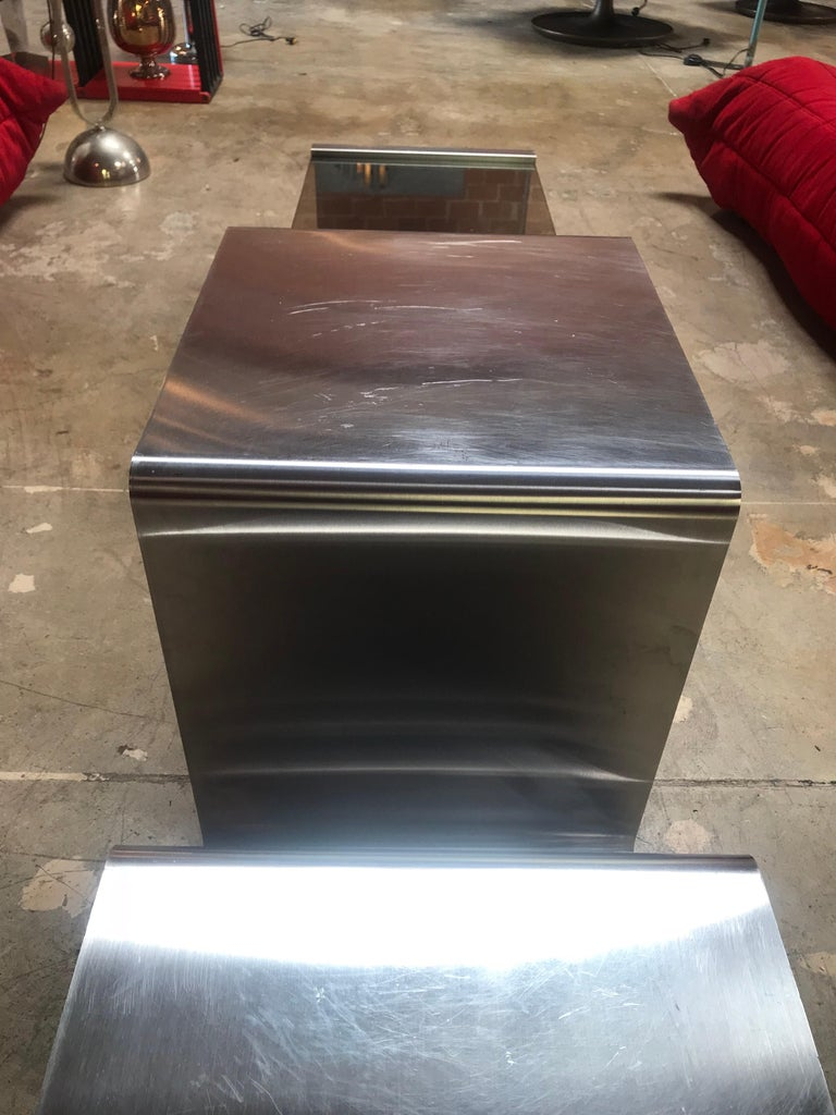 Late 20th Century Sculptural Coffee Table Made of Three Modular Glass and Chrome Pieces, 1970s For Sale