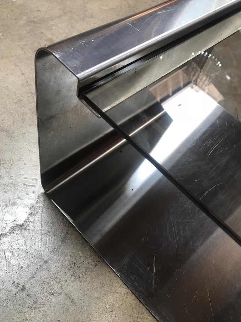 Sculptural Coffee Table Made of Three Modular Glass and Chrome Pieces, 1970s For Sale 3