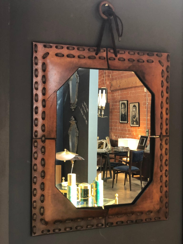 Authentic Italian leather mirror 1970s in brown.
