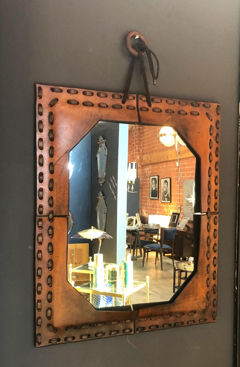 Modern Authentic Italian Leather Mirror, 1970s For Sale