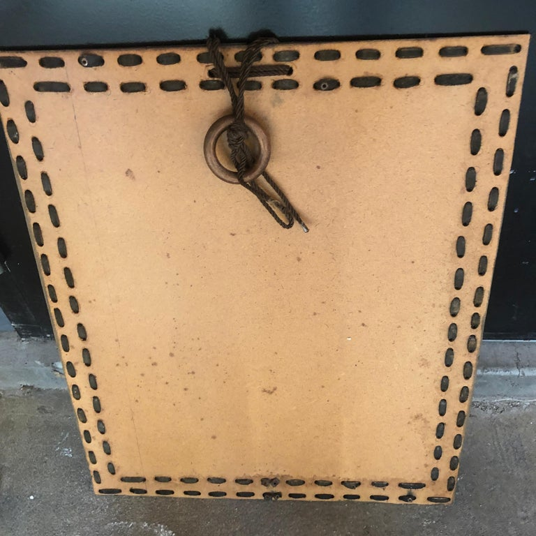 Authentic Italian Leather Mirror, 1970s For Sale 2