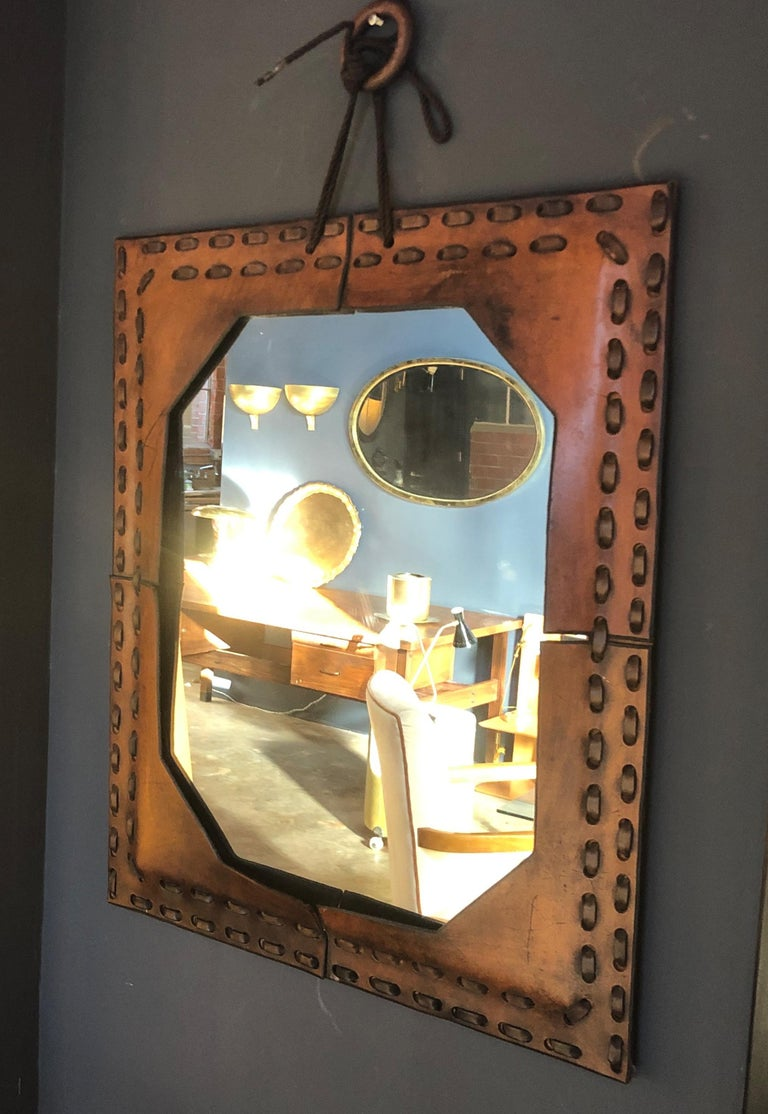 Authentic Italian Leather Mirror, 1970s For Sale 3